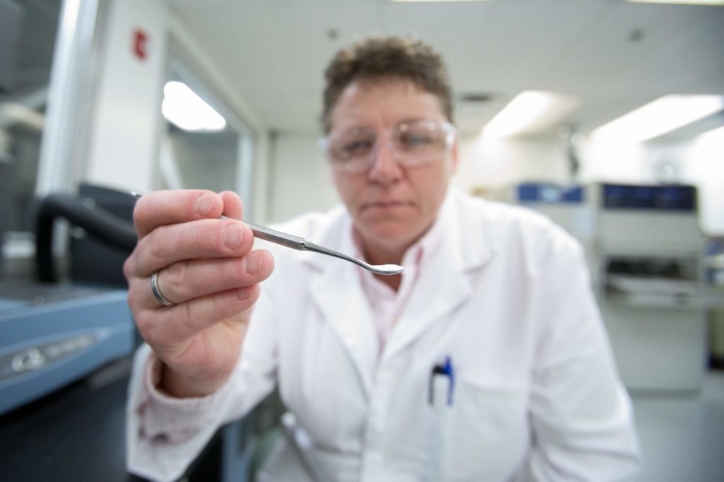 Scientist holding spoon of PVC compound